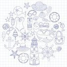 Sunglasses,Cocktail,Beach,Bag,Vector,Pencil Drawing,Notebook,Checked Pattern,Island,Doodle,Steering Wheel,Wheel,Swimwear,Whale,Set,Illustration,Note Pad,Eyeglasses,Sun