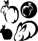 Animal,Wildlife,Black Color,White,Illustration,Domestic Animals,Vector,Silhouette,Rabbit - Animal,Cute,Computer Graphic,Clip Art,Set,Sitting,Black And White,Pets,Hare,Outline,Symbol