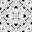 Decoration,Ornate,Doodle,Outline,Contour Drawing,Monochrome,Black And White,Pattern,Abstract,Backgrounds,Seamless,Wallpaper Pattern,Tile,Computer Graphic,Digitally Generated Image,Vector