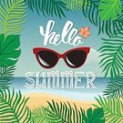 Backgrounds,Nature,Beach,Sea,Vector,Summer,Tree,typographic,Illustration,Vacations,Typescript,template,Decoration,Ornate,Sunglasses,Handwriting,Sign,Computer Graphic,Label,Sand,Hello
