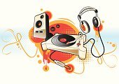 Music,Rock and Roll,Group of Objects,Symbol,Abstract,Turntable,Vector,Graffiti,Speaker,Concepts,Cable,Cool,Headphones,Electrical Equipment,Backgrounds,Design,Red,Decoration,Record,Interconnect,Sound,Audio Equipment,Funky,Earbud,Fun,Orange Color,Modern,Stereo,Spotted,Sparse,Shiny,Copy Space,tonearm,Curled Up,Vector Cartoons,Arts Symbols,Music,Arts And Entertainment,Illustrations And Vector Art,Modern Music