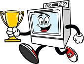 Cartoon,Vector,Kitchenware Department,Single Object,Baking,Illustration,Running,Award,Winning,Trophy,Jumping,Electricity,Cooking,Sport,Cup,Success,First Place,Domestic Kitchen,Gas,Equipment,Furnace,Stove,Appliance,Oven