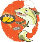 Fish,Fried,Catfish,Catfish,Prepared Fish,Cartoon,Chef,Vector,Cooking,Frying Pan,Chef's Hat,Apron,Orange Color,Cooking,Meat And Alternatives,Illustrations And Vector Art,Vector Cartoons,Fish Fry,Gold Tooth,Green Color,Food And Drink