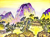 Horizontal,Creativity,No People,Art And Craft,Plant,Art,Landscape,Painted Image,Eyesight,Illustration,House,Chinese Culture,Mountain,Hill,Watercolor Painting,Landscape,East Asian Culture,Paintings,Tree,Drawing - Art Product,Yellow,Green Color