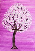 Cherry,Apple - Fruit,Nature,Plant,Blossom,White,Pink Color,Gouache,Craft,Springtime,Tree,Flower,Illustration,Drawing - Art Product,Watercolor Painting,Purple,Fine Art Painting,Art And Craft,Blossoming,Art,Painted Image,Paintings,botanic