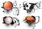 Sport,Football,Basketball - Sport,Grunge,Baseball - Sport,Symbol,Ball,Vector,Soccer Ball,Sphere,Baseballs,Religious Icon,Ilustration,Black Color,Design Element,Extreme Sports,Set,No People,Orange Color,Team Sports,Sports And Fitness,Illustrations And Vector Art,Small Group of Objects