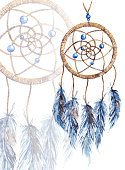 Watercolor Painting,Art,Dreamcatcher,Painted Image,Feather,Illustration,Circle