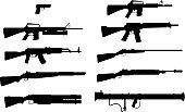 Gun,Rifle,Silhouette,Shotgun,Weapon,Vector,Rocket Launcher,Handgun,Outline,Isolated,Group of Objects,Black Color,Ilustration,Monochrome,Isolated On White,Sniper Rifle,No People,White Background