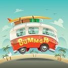 Copy Space,Hippie,Old-fashioned,Cheerful,Summer,Illustration,People,Poster,Happiness,Camping,Bus,Beach,Vector,,Luggage,Vacations