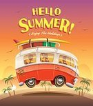Hello Summer,Copy Space,Hippie,Old-fashioned,Cheerful,Summer,Illustration,People,Poster,Happiness,Camping,Bus,Beach,Vector,,Luggage,Vacations