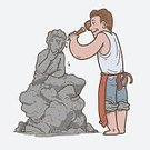 Men,Happiness,Cheerful,People,Planning,Cartoon,Illustration,Vector,Rock - Object,Hobbies,Art,Statue,hand drawn,Sculpture,Artist,Occupation,Working,Sculptor