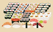 Meal,Japan,Illustration,Menu,Seafood,Sushi,Dieting,Crockery,Sashimi,Food,Vector,Nori,Caviar,Cultures,Backgrounds,Maki Sushi,Table,Dinner,Restaurant,Plate,Gourmet,Freshness,Cooking