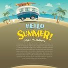 People,Luggage,Cheerful,Old-fashioned,Poster,Copy Space,Happiness,Illustration,Vector,Bus,Hippie,Summer,Beach,Vacations,Camping