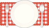 Picnic,Food,Tablecloth,Frame,Checked,Meal,Sign,Plate,Banner,Red,Fork,Dining,Food And Drink,Pattern,Kitchen Utensil,Spoon,Placard,Eating,Illustrations And Vector Art,Copy Space,Food And Drink