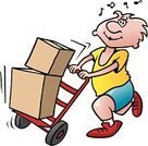 Mover,Moving House,Moving Office,Hand Truck,Physical Activity,Box - Container,Cartoon,Vector Cartoons,Industry,Retail/Service Industry,People,Vector,Freight Transportation,Ilustration,Illustrations And Vector Art
