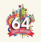 60-64 Years,Adult,Celebration,Anniversary,Greeting Card,Geometric Shape,Cheerful,Congratulating,Birthday Card,Illustration,Birthday,Inviting,Happiness,Invitation,Number,Typescript,Fun,Vector,Party - Social Event,Text,Vibrant Color,Multi Colored,Colors