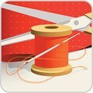 Thread,Sewing,Tailor,Sewing Needle,Textile,Vector,Cotton,Interface Icons,Scissors,Symbol,Needlecraft Product,Work Tool,Ilustration,Spiral,Banner,Cutting,Needle's Eye,Red,Focus on Shadow,hank,Technology,Vector Icons,Professional Occupation,Business Symbols/Metaphors,Technology Symbols/Metaphors,Illustrations And Vector Art,Placard,Square Shape,Business