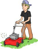 Mowing,Lawn Mower,Lawn,Gardening,Men,Service,Cutting,Grass,Chores,Pushing,Push Mower,Manual Worker,Vector,Equipment,Young Men,One Person,Isolated,Occupation,Ilustration,Red,Illustrations And Vector Art,Moving Activity,Household Objects/Equipment,Objects/Equipment,Working,Activity,Isolated On White,People