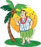 Hula Dancing,Hawaiian Shirt,Men,Coconut,Grass Skirt,Tourist,Cartoon,Coconut Palm Tree,Garland,Male,Tree,Frangipani,Flip-flop,Dancing,Shaking,wiggle,Vector,Grass,Shaka Sign,Musical Note,Palm Tree,Humor,Illustrations And Vector Art,Travel Locations,Flower,People,Floral Pattern,Ilustration,Multi Colored