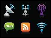 Wireless Technology,Radio Wave,Symbol,Broadcasting,Communication,Podcast,Computer Icon,Computer Network,Sign,Icon Set,Satellite Dish,Text Messaging,rss,Vector,Global Communications,Internet,Interface Icons,Set,Ilustration,Single Object,Black Background,Design Element,Isolated On Black,Illustrations And Vector Art,Technology,Vector Icons,Communications Technology,Technology Symbols/Metaphors