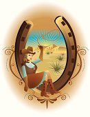 Cowgirl,Wild West,Horseshoe,Lasso,Cowboy Boot,Old-fashioned,Country and Western Music,West - Direction,Texas,Rodeo,Women,Cowboy Hat,Desert,Rural Scene,Cactus,Rope,Clothing,Skirt,Brown Hair,Female,Beautiful,Antique,Glove,Protective Glove,Lassoing,Mid Adult,Young Women,Bluegrass,People,Young Adult,Human Gender,Illustrations And Vector Art,Roots Country,Pop Country,Waistcoat,People,Vector Backgrounds,Adult,Classic Country