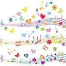 Butterfly - Insect,Musical Staff,Heart Shape,Flower,Joy,Musical Note,Music,Key,Happiness,Valentine Card,Wallpaper,Multi Colored,Symbol,Wallpaper Pattern,Curve,Love,Singing,Education,Decoration,Swirl,Creativity,Backgrounds,Pattern,Illustration,Composition