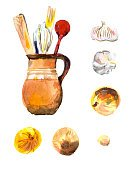 Collection,Isolated,Illustration,Onion,Spoon,Painted Image,Old-fashioned,hand drawn,Jug,Garlic,Drawing - Activity,Watercolor Painting