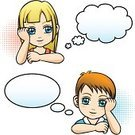 Thinking,Child,Cartoon,Little Girls,Little Boys,Manga Style,Human Face,Frame,Cloud - Sky,Small,Vector,People,Symbol,Characters,Cute,Female,Human Eye,Blond Hair,Label,Friendship,Human Head,Male,Ilustration,Communication,Body,The Human Body,Hairstyle,Happiness,Cheerful,Smiling,Human Lips,Children Only,Outline,Caucasian Ethnicity,Design,Imagination,Elegance,Isolated,Human Skin,Beauty,Beautiful,Modern,Beauty In Nature,Lifestyle,Isolated Objects,Short Hair,People,Isolated-Background Objects,Babies And Children,White Background,Message