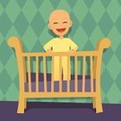 Crib,Baby,Nursery,Cartoon,Ilustration,Infant Bodysuit,Laughing,6-12 Months,Vector,Babies Only,One Person,Child,Clip Art,Cute,Smiling,People,12-18 Months,People,Cheerful,Lifestyle,Vector Cartoons,Positive Emotion,Illustrations And Vector Art,Happiness,Toothy Smile,Content,Babies And Children,0-6 Months,Standing