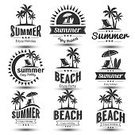 Retro Styled,Illustration,Summer,Beach,Sign,Sea,Vector,Vacations,Label,Tropical Climate