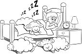 Night,Sleeping,Insomnia,Vector,Illustration,Characters,Bed,Alarm Clock,Relaxation,Star Shape,One Person,Concepts,Moon,Nature,Humor,Napping,Sheep,Dreamlike,Animal,Clock,Letter Z,Bedroom,Counting,Bedtime,Tired,Snoring,Pillow,Star - Space,Full Moon,Ideas,Sky,Lying Down,Cartoon,Laziness,Resting