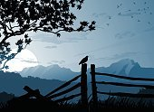 Landscape,Silhouette,Tree,Fence,Mountain,Vector,Sunset,Treelined,Bird,Scenics,Mountain Range,Wilderness Area,Wood - Material,Back Lit,Non-Urban Scene,Rural Scene,Woodland,Autumn,Branch,Cloud - Sky,Grass,Blue,Nature,Ilustration,Sky,Summer,Flock Of Birds,Backgrounds,Mountain Peak,Cloudscape,Tranquil Scene,Panoramic,Outdoors,Black Color,Large,Land,Environment,Clip Art,Dusk,Vacations,Remote,Season,Beautiful,Beauty,Nature,Beauty In Nature,Landscapes,Nature Backgrounds