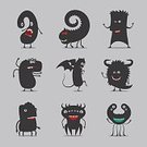 Abstract,Symbol,Animal Mouth,Computer Icon,Alien,Monster - Fictional Character,Illustration,Cartoon,Mascot,Vector,Icon Set