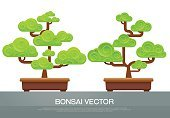 Summer,Backgrounds,Symbol,Leaf,Collection,Nature,Tree,Vector,Illustration,Bonsai Tree