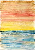 Craft,Homemade,Multi Colored,Brush Stroke,Sea,Orange Color,Bright,Red,Paintings,Vibrant Color,Blue,Watercolor Painting,Seascape,Yellow,Painted Image,Art,Beautiful,Backgrounds,Creativity,Abstract
