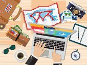 Vector,Passport,Laptop,Exploration,Summer,Travel,Planning,Abstract,Vacations,Equipment,Tourism,Backgrounds,Journey,Suitcase,Flat,World Map,Men,Compass,Global,Memories,Camera - Photographic Equipment,Human Hand,Business,Concepts,Ticket,Design,Adventure,Cartography,Tourist,Illustration,Desk,Buying