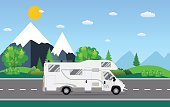 Adventure,Travel,Trailer Home,Concepts,Camping,Vector,Car,Illustration,Comfortable,Road,Journey,Poster,Lifestyles,Driving,Motor Home,Vehicle Trailer,Mountain,Riding,Tourism,Backgrounds,Landscape,Van - Vehicle,Transportation,Flat,Land Vehicle,Symbol,Exploration,Non-Urban Scene,Tourist,Wheel,Vacations