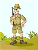 Hunter,Safari,Explorer,Cartoon,Men,Pith Helmet,Vector,Hat,Exploration,Shotgun,English Culture,Work Helmet,Rifle,Herb,Bullet,Illustration Technique,Gaucho Hat,Standing,Desert,Day,Grass,Outdoors,Mustache,Vertical,Northern European Descent,People,Travel Locations,Senior Men,Southern European Descent,White Hair,Sports And Fitness
