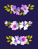 Flower,Dark,Flower Head,Multi Colored,Blossom,Rose - Flower,Set,Modern,Purple,Decoration,Painitng,Leaf,Composition,Isolated,Backgrounds,Pink Color,Beauty,Bud,Abstract,Nature,template