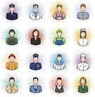 Women,People,Computer Icon,Men,Doctor,Student,Human Face,Police Force,Businessman,Collection,Set,Vector,Engineer,Manager,White Collar Worker,Occupation