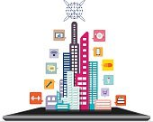 Global Communications,Internet,Communication,Business,Technology,Social Issues,Concepts,Computer Icon,Building Exterior,High Society,Office Building,Mansion,Illustration,Interface Icons,Ideas,Computer Graphic,Design,Urban Scene,Town,City Life,City,Vector