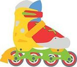 Activity,Sport,Red,Multi Colored,Symbol,Fashion,Illustration,Adult,Equipment,Fun,Shoe,Wheel,Computer Graphic,Side View,Vector