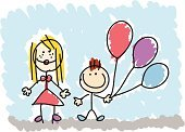 Child,Photograph,Drawing - Art Product,Balloon,Mother,Cartoon,Family,Son,Child's Drawing,Doodle,Vector,Ilustration,Brother,Pencil Drawing,Sister,Sketch,Women,Cheerful,Happiness,Couple,Smiling,Multi Colored,Illustrations And Vector Art,Vector Cartoons,Looking At Camera