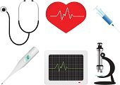 Healthcare And Medicine,Medical Exam,Heart Shape,Symbol,Computer Monitor,Computer Icon,Sign,Pulse Trace,Stethoscope,EEG,Religious Icon,Equipment,Clinic,Care,Medicine,Life,phonendoscope,Electronics Industry,Vector,Microscope,Ilustration,Set,Thermometer,Ideas,Wave Pattern,Urgency,Syringe,Taking Pulse,Injecting,Emergency Services,Medicine,Beauty And Health,Isolated Objects,Isolated-Background Objects