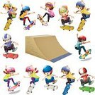 Skateboarding,Activity,Child,Sport,Fun,Vector,Single Object,Action,Childhood,Wooden Ramp,Backgrounds,Image,Student,Clip Art,Computer Graphic,Part Of A Series,Collection,Cutting
