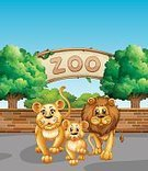 Zoo,Animal,Computer Graphic,Cute,Clip Art,Backgrounds,Vector,Image,Tree,Lion - Feline,Wildlife,Outdoors,Nature,Lifestyles,Mammal,Cub