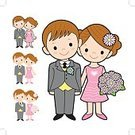 Women,Illustration,Husband,Housework,Mother,Men,marry,Wife,Mascot,Wedding,Folk Music,Family,Bride,Vector,Love,menage,Bridegroom,Cartoon,Domestic Life,Date,Father,Boys