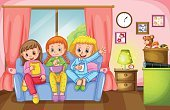 Child,Social Life,Friendship,Childhood,Bedtime,Computer Graphics,Activity,Image,Sofa,Lifestyles,Domestic Room,Backgrounds,Computer Graphic,Domestic Life,Illustration,Slumber Party,Vector,Student,Background,Clip Art,Sitting