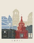 Illustration,Creativity,Multi Colored,Famous Place,Monument,Poster,Urban Skyline,Color Image,Cityscape,Abstract,Europe,Architecture,Painted Image,Vibrant Color,Backgrounds,Sofia