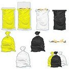 Bag,Garbage,Garbage Bag,Sack,Plastic,Bin/tub,Vector,Recycling,Black Color,Yellow,White,Tied Knot,Icon Set,Open,Ilustration,Clip Art,Closed,Cleanup,Illustrations And Vector Art,Design Element,Dirty,Isolated On White,Pedal Bin,Concepts And Ideas,No People,Objects/Equipment,Bin Liner